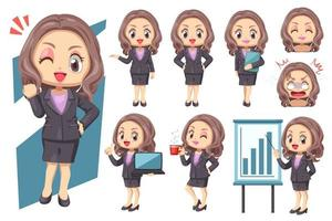 Happy working woman standing and working in difference acting vector