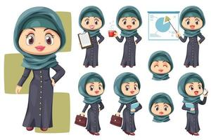 Happy muslim businesswoman wearing hijab in difference compose vector