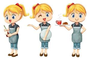 Bundle set of smiley waitress with apron in coffee shop vector