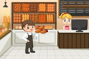 Beautiful Baker shop female owner and Young waitress man vector