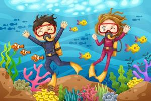 Young man and woman scuba diver dives under the sea vector