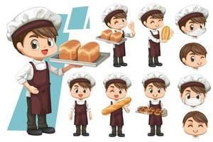 Bundle set of Baker man with breads in cartoon vector