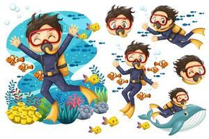 Bundle set of Young man scuba diver diving under the sea vector