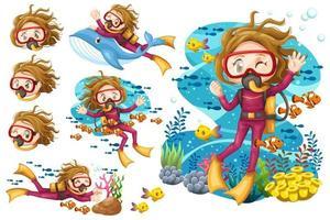 Bundle set of Young woman scuba diver diving under the sea vector