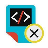 Coding script file delete symbol glyph vector icon