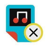 Music, audio file deletion glyph vector icon