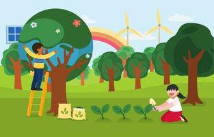 Children help to plant trees on happy earth day vector