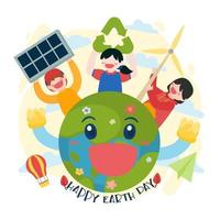 The children using renewable energy from nature vector