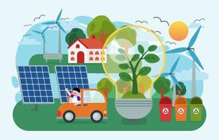 The children using renewable energy earth day vector