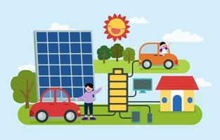 People Using renewable energy from nature vector