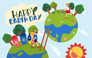 The children enjoyed the activities for Earth Day vector