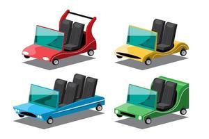 Set of Convertible  car in vintage design vector