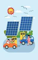The children Using renewable energy for save the world vector