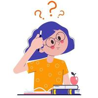 A schoolgirl in class or in an exam thinking about how to do her homework or assignments. The girl is thinking about it. Flat vector illustration with question marks.