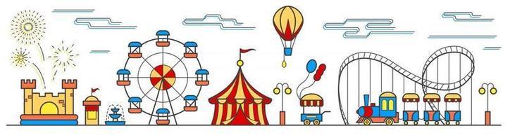 panorama de un parque de atracciones con noria, circo, atracciones, globos, castillo hinchable y carrito de comida. paisaje del parque urbano. ilustración vectorial vector