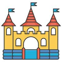 Bouncy inflatable castle. Tower and equipment for child playground. Vector line illustration