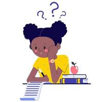 A schoolgirl in class or in an exam thinking about how to do her homework or assignments. The African-American girl is thinking about it. Flat vector illustration with question marks.