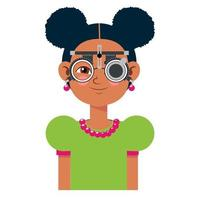 Children vision checkup in ophthalmological clinic. Optometrist checking kid eyesight with spectacles medical equipment. Glasses lens selection. Girl flat cartoon character illustration vector