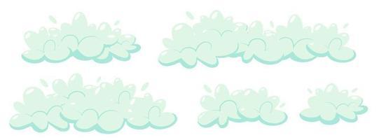 Soap foam with bubbles. Set of cartoon shampoo and soap foam suds. Vector illustration