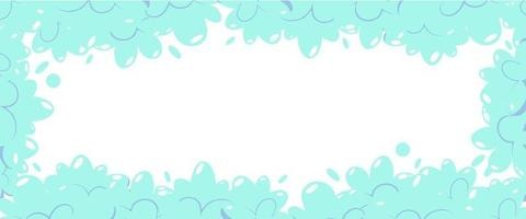 Soap foam with bubbles. Frame of cartoon shampoo and soap foam suds. Vector illustration