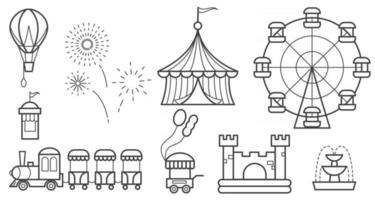 Amusement park outline icon set. Ferris wheel, circus, rides, balloon, bouncy castle, train, fireworks, fountain shopping cart. Vector line objects