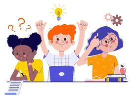 Classmates at the exam. Girls and a boy doing an assignment in the classroom. The concept of learning and knowledge. Flat vector illustration.