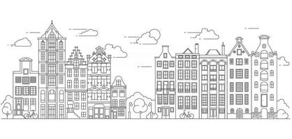 Amsterdam old style houses. Typical dutch canal houses lined up near a canal in the Netherlands. Building and facades for Banner or poster. Vector outline illustration.