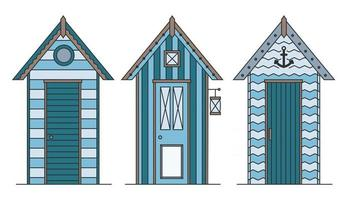 Set of beach houses. Huts and bungalow collection. Marine buildings on sea beach. Flat illustration isolated on white background. vector