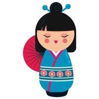 Cute japanese kokeshi doll character. Cartoon vector illustration