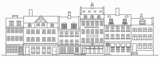 horizonte de edificios de amsterdam. paisaje urbano lineal con varias casas en hilera. Ilustración de contorno con viejos edificios holandeses. vector