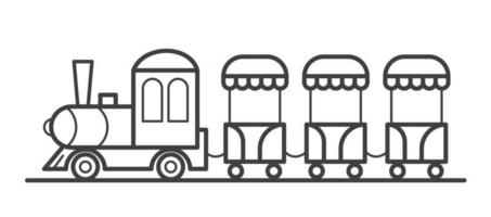 A train with carriages in an amusement park. An attraction for children. Outline vector line illustration. Icon