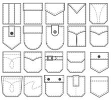 Set of pocket patches. Outline elements for uniform or casual style clothes, dresses and shirts. Line vector illustration on white background