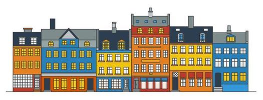 horizonte de edificios de amsterdam. Paisaje urbano de color lineal con varias casas en hilera. Ilustración de contorno con viejos edificios holandeses. vector