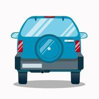 Back view of blue hatchback car. Flat vector illustration on white background