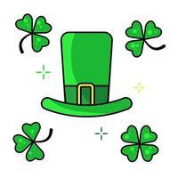 St. Patricks green hat with four-leaves clover. Leprechaun hat. Vector illustration.