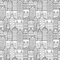 Seamless pattern of old european city. Holland houses facades in traditional Dutch style. The Decorative Architecture of Amsterdam. Black and white background vector