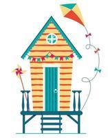 Beach house. Hut on the coast. Vector flat illustration.