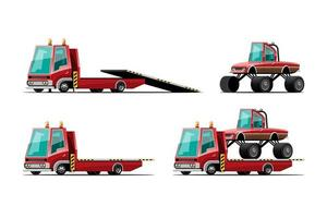 set of towing car trucking  auto transport vector illustration