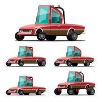 Bundle set of vintage car in cartoon character vector