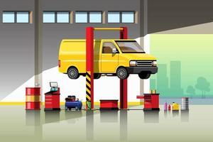 Automobile repair and maintenance service concept vector illustration.