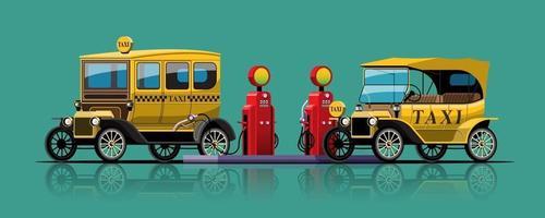 Vintage taxi Car filling up at oil tank vector illustration