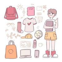 Dress up doll school boy. Boys' characters school costumes vector