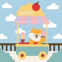 Flat cartoon character of fox seller. Fox seller and ice cream street shopping cart vector
