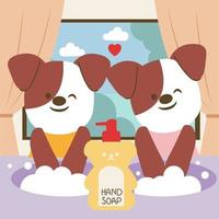 Two dogs wash their hands with soap in a tub of water. vector