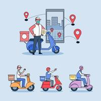 Online delivery, ordering service and delivery straight to your hand quickly. vector