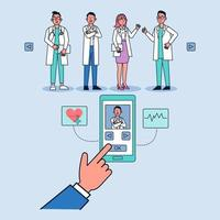 Doctor online concept. Patient choosing doctor for an appointment online on mobile screen. Online medical clinic communication with patient. Vector isometric illustration.