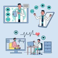 Patients consult with doctors through online clinics. vector