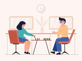A pair of men and women play chess in a chess match. vector