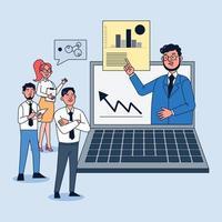Los ceos muestran a los empleados el aumento de los resultados operativos a través de videoconferencias. vector