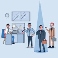 excelentes empleados, superando los objetivos de ventas vector